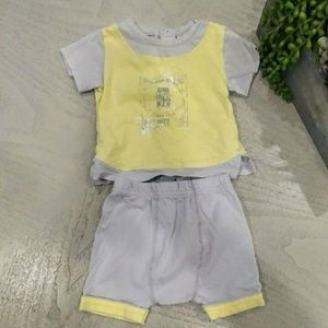 3 pommes baby boy yellow and grey set
